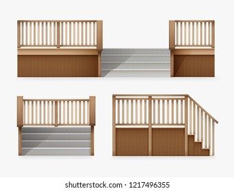 Vector realistic illustration of external staircase for entrance to house, stairway of porch from wooden balustrade front and side view, isolated on white background