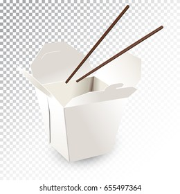 Vector realistic illustration of a fast food box with chopsticks. Colorful objects on a transparent background.