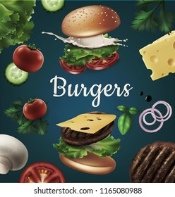 Vector realistic illustration flying burger, ads exploded hamburger with refreshing ingredients: lettuce, onion, patty, tomato, cheese, cucumber, mayonnaise and bun with sesame isolated on background