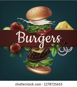 Vector realistic illustration of flying burger with text, ads exploded hamburger with refreshing ingredients: lettuce, onion, patty, tomato, cheese, cucumber, sauce and bun with sesame on background