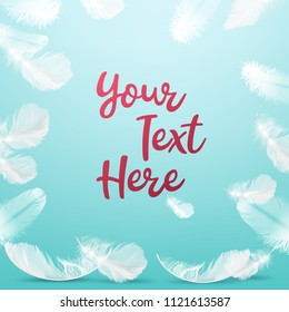 Vector realistic illustration of frame delicate white feathers on background with space for text