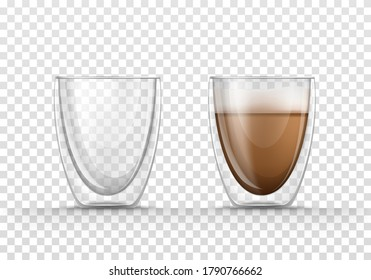 Vector realistic illustration of glasses empty and full of coffee, isolated on transparent background. Double walled glass mug with hot drink, cappuccino or latte. Mockup for brand advertising.