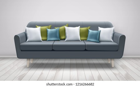 Vector realistic illustration of gray sofa with decorative cushions for lounge on wooden floor and white wall. White, blue, and green pillows on settee