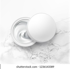 Vector realistic illustration of half open cosmetic jar with hygienic cream, top view,  isolated on white marble background. Packing template of lotion for skin