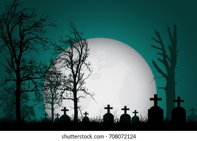 Vector realistic illustration of a haunted cemetery with tombstones, cross and trees without leaves under a dramatic  sky with moon