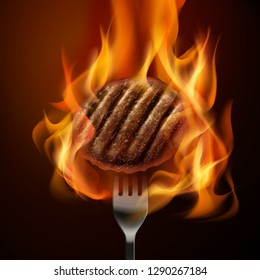 Vector realistic illustration of hot grilled beef patty on fork with open fire isolated on dark background. Concept cooking burgers on flames.