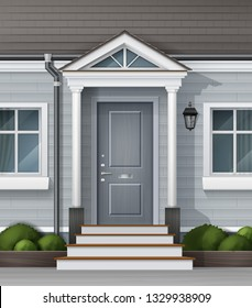 Vector realistic illustration of house facade with front wooden door with with a canopy on the columns and decorative gardening. Part of facade with tiled roof, windows, porch, lanterns, drain pipes