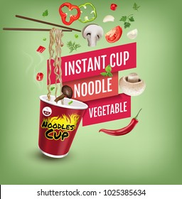 Vector realistic illustration of instant cup noodles with vegetables. Poster with product.