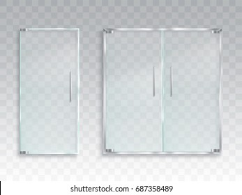 Vector realistic illustration of a layout of an entrance glass door with metal handles, a clean transparent door for an office, a store, a boutique