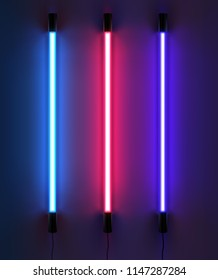 Vector realistic illustration of lighting light neon tubes in blue pink red colors isolated on dark background