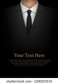 Vector realistic illustration of man in suit with tie close up on black background with space for text