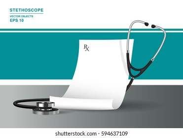 Vector realistic illustration. Medical prescription and stethoscope. Health care concept with phonendoscope