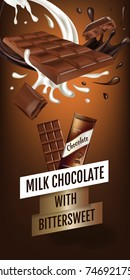 Vector realistic illustration of milk chocolate with bittersweet. Vertical ads banner with product.
