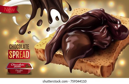 Vector realistic illustration of milk chocolate spread. Horizontal ads poster with bokeh background.