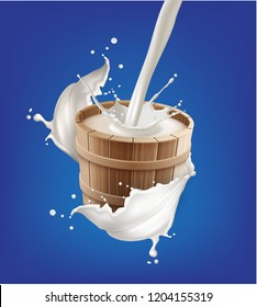 Vector realistic illustration of milk pouring into wooden pail with splash isolated on background