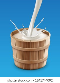 Vector realistic illustration of milk pouring with splash into wooden bucket isolated on background