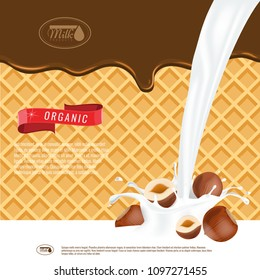 Vector realistic illustration of milk splash with hazelnuts. Chocolate melting with wafers background. Ready design for ads and package design vector.