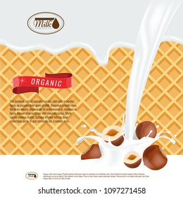 Vector realistic illustration of milk splash with hazelnuts. Milk melting with wafers background. Ready design for ads and package design vector.