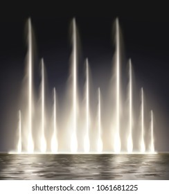 Vector realistic illustration of modern lit night water waterfall music musical fountain illuminated isolated on dark background