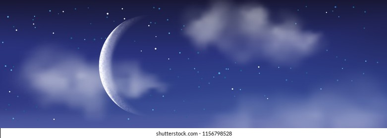 Vector realistic illustration of night cloudscape. Moon, stars and clouds on blue evening sky. Romantic fantasy landscape background.