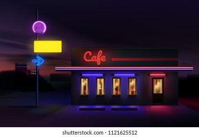 Vector realistic illustration of night street city town urban road retro old bright neon sign and electric arrow symbol a pointer to cafe. Isolated on landscape background