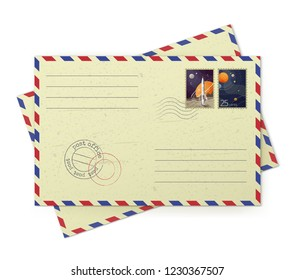Vector realistic illustration of old vintage airmail envelopes with postal space stamps isolated on white background