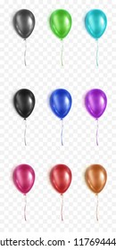 Vector realistic illustration on transparent backgraund. Glossy 3d balloons set for your design.