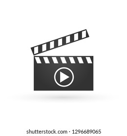 Vector realistic illustration of open movie clapperboard or clapper with play sign isolated on background. Black cinema slate board, device used in filmmaking and video