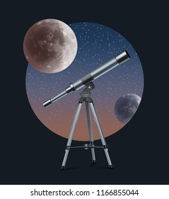 Vector realistic illustration of optical telescope glass lens on tripod with astronomy full moon in round isolated on starry background