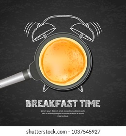Vector realistic illustration of pan with pancake and hand drawn alarm clock on black board slate background. Top view food on dark background. Creative design for breakfast menu, cafe, restaurant.