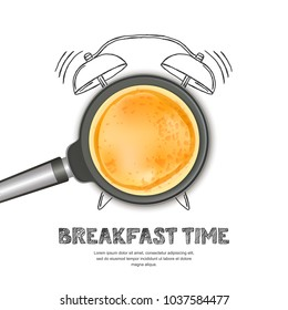 Vector realistic illustration of pan with pancake and hand drawn alarm clock isolated on white background. Top view food on dark background. Creative design for breakfast menu, cafe, restaurant.