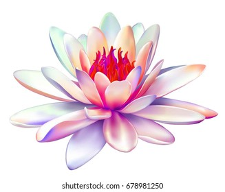 Vector realistic illustration of pink purple lotus flower isolated on white background. Design for natural cosmetics, health care and Ayurveda products, yoga center.