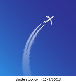 Vector realistic illustration of plane loop and arc track or trails with white smoke on blue sky background