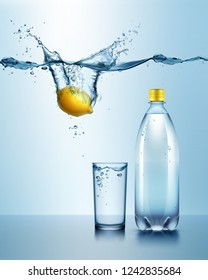 Vector realistic illustration of plastic bottle with glass of drink isolated on background and juicy lemon under blue water with splash and drops