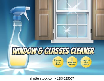 Vector realistic illustration of plastic spray pistol cleaner with detergent for window with wooden shutters isolated on background and glass, ads banner