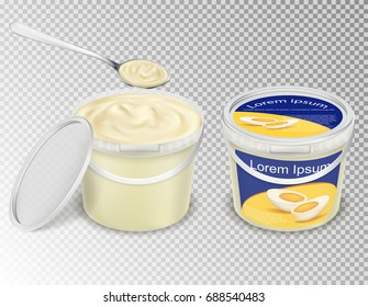 Vector realistic illustration, plastic transparent buckets with food - mayonnaise, sour cream, yogurt, sauce, ice cream, - and spoon scooping it up. Set containers, mok up pails with label and without