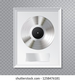 vector realistic illustration of the platinum LP with blank black label and white frame