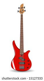 Vector realistic illustration of red bass guitar