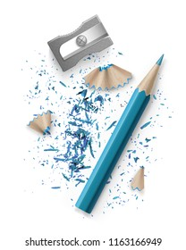Vector realistic illustration of sharpener and blue pencil with shavings and graphite isolated on white background