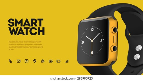 Vector realistic illustration of smart electronic intelligence watch, technology functions and template text