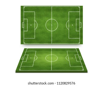 Vector realistic illustration of soccer football field top and perspective view isolated on white background