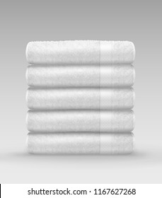 Vector realistic illustration of stack white clean terry folded towels isolated on gray background