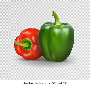 Vector realistic illustration of sweet pepper set. 3d Vegetables red and green on a transparent background
