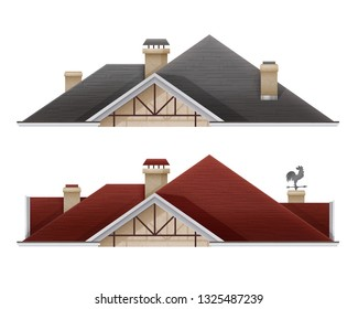 5f8f5ac93924 Vector realistic illustration of tiled roof house isolated on white  background, part of the house