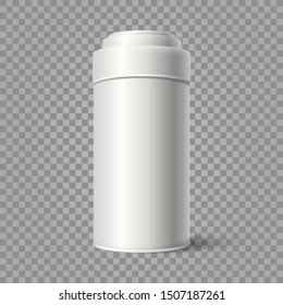 Vector realistic illustration of tin bucket isolated on transparent background. Mockup of White Blank Tin can packaging,