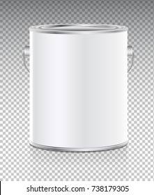 Vector realistic illustration of tin bucket isolated on transparent background