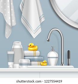 Vector realistic illustration of towels, mirrow, faucet and bath set on shelf with yellow duck in light bathroom interior. Templates of jars for cosmetics