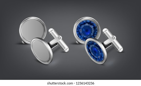 Vector realistic illustration of two pair silver or chrome cufflinks with blue gem isolated on dark background