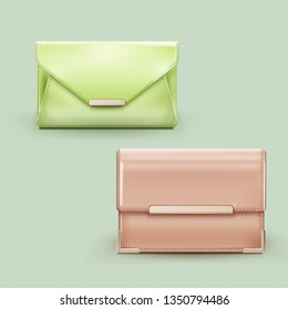 Vector realistic illustration of two woman's classic clutch of pastel colors with metal clasps isolated on background