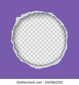 Vector realistic illustration of ultra violet torn paper with ripped edges, round shaped hole isolated on transparent background with frame for text